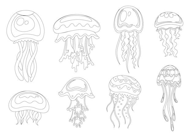Line style set of sea jellyfish tropical underwater animal aquatic organism