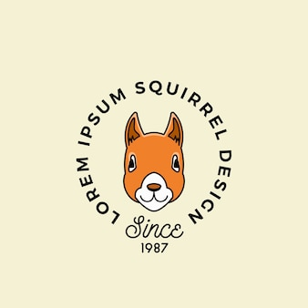 Line style squirrel face with retro typography.