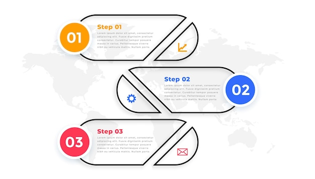 Line style three steps modern infographic template