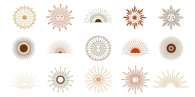 ラインサンセットと太陽は光線、ロゴ要素で輝いています。ヨガ瞑想天体シンボルタトゥー。自由奔放に生きる占星術の神秘的な太陽と顔のベクトルを設定します