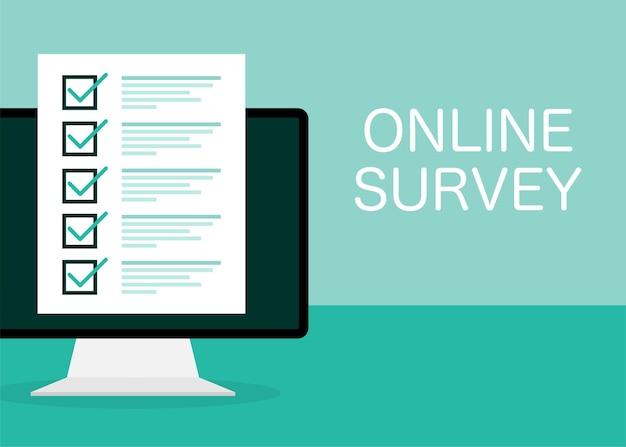 Line survey laptop in flat on green