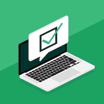 Ноутбук линейной съемки в плоском стиле на зеленом