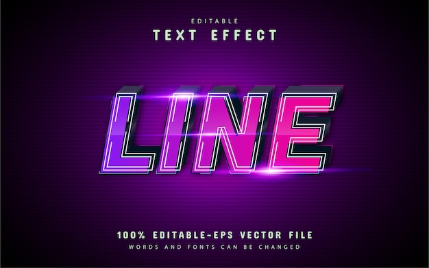 Line text effect with purple gradient