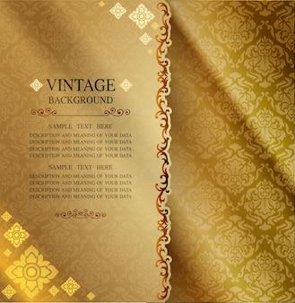 Line thai background golden of light