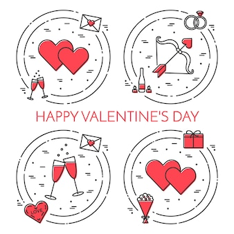 Line thin icons banner for saint valentine's day and date theme.