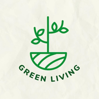 Line tree logo template for branding with text