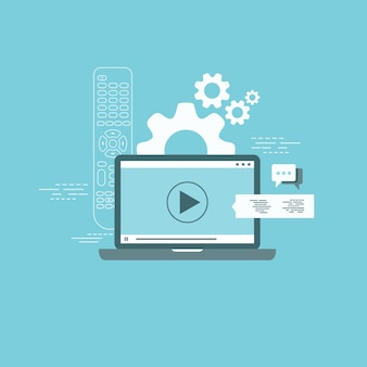 On line tv and on line learning concept