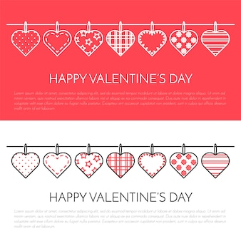 Line vertical banner for saint valentine's day and date theme.