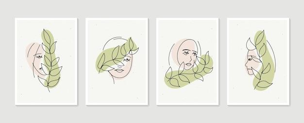Линия женский портрет набор абстрактных эстетических минималистских рисованных современных плакатов