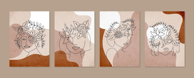 꽃과 라인 여자 초상화는 미니멀 한 손으로 그린 현대 포스터를 설정
