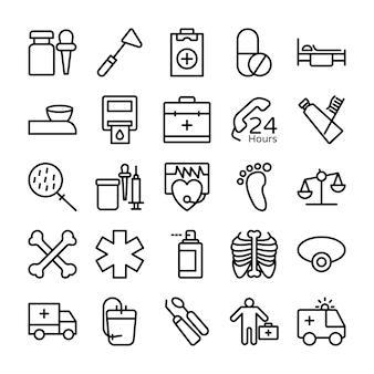 Медицина, здоровье и больница line иконки