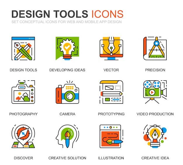 Простой набор инструментов дизайна line иконки для веб-сайта
