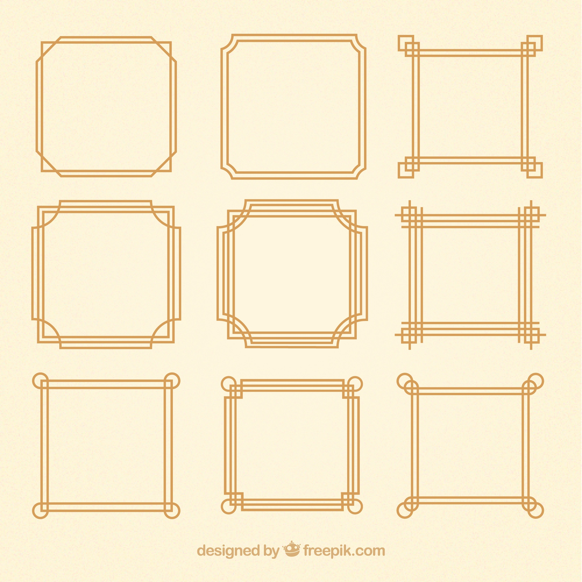 Lineal frames collection with ornaments