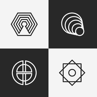 直線的なロゴコレクションの抽象的なデザイン