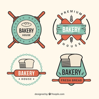 Lineal retro bakery badges pack