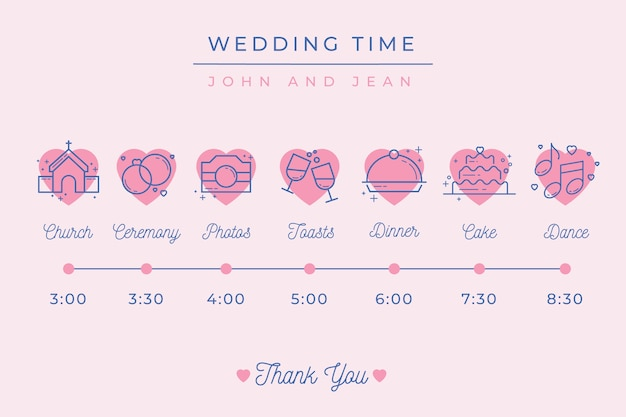 Lineal style wedding timeline template