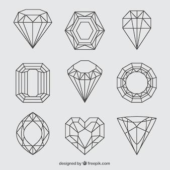 Ассортимент девять lineal драгоценных камней