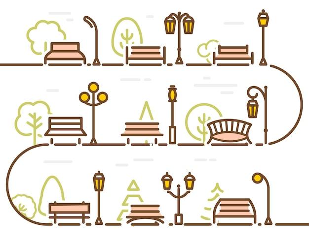 Линейная абстрактная улица с элементами парка, лес, дерево, парк, скамейка и векторная иллюстрация фонаря