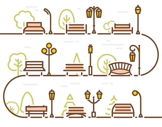 Linear abstract street with park elements forest tree park bench and lantern vector illustration