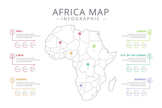 Linear africa map infographic