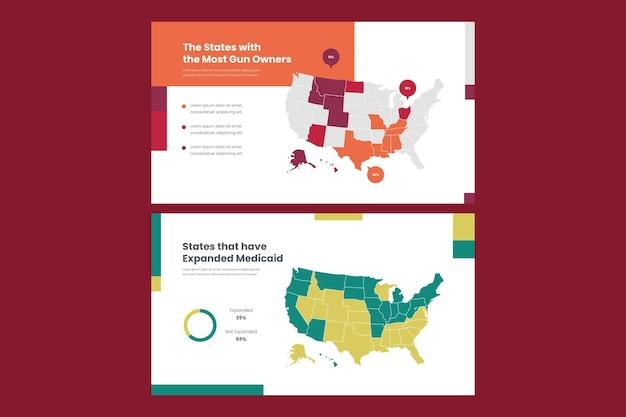 線形アメリカ地図インフォグラフィック