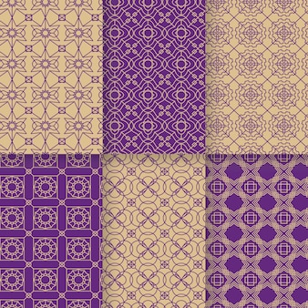 Linear arabic pattern collection Premium Vector
