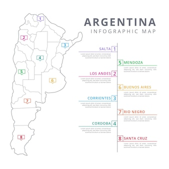 Linear argentina map infographic