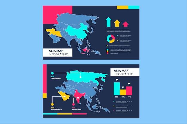 Mappa di asia lineare infografica