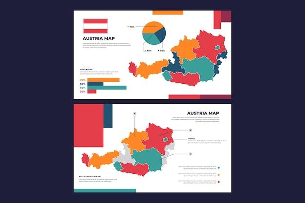 線形オーストリア地図インフォグラフィック