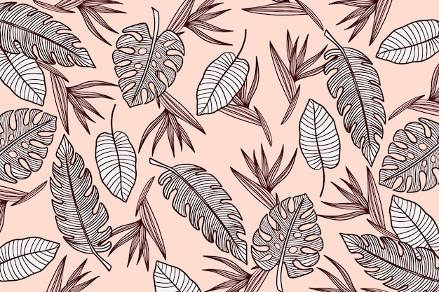 Linear background tropical leaves with pastel color