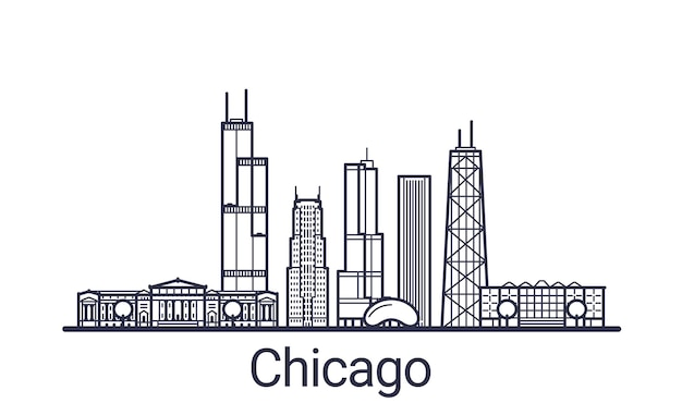 Linear banner of chicago city. all chicago buildings - customizable objects with opacity mask, so you can simple change composition and background fill. line art.