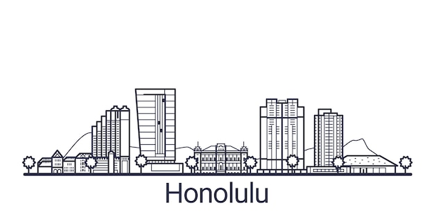 Linear banner of honolulu city. all honolulu buildings
