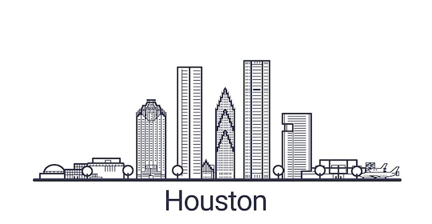 Linear banner of houston city. all buildings
