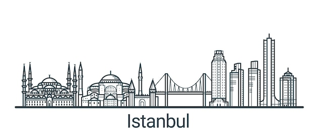 Linear banner of istanbul city. all buildings