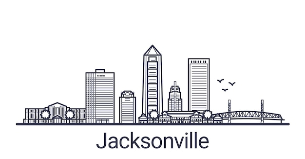Linear banner of jacksonville city. all buildings