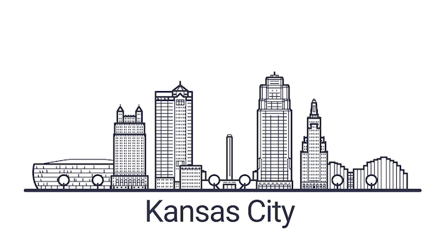 Linear banner of kansas city. all buildings
