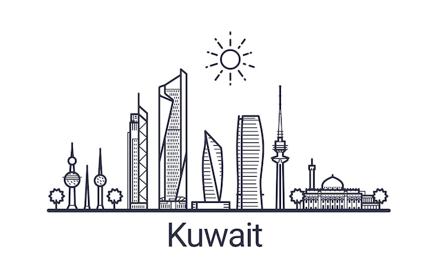 Linear banner of kuwait city. all kuwait buildings  art.
