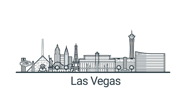 Linear banner of las vegas city. all buildings