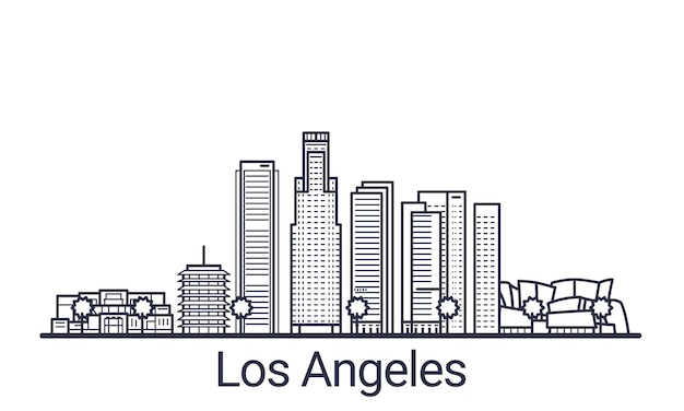 Linear banner of los angeles city. all los angeles buildings  art.