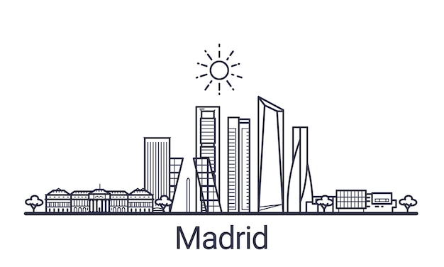 Linear banner of madrid city. all madrid buildings  art.
