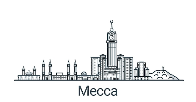 Linear banner of mecca city. all buildings