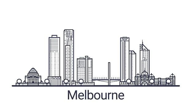 Linear banner of melbourne city. all buildings