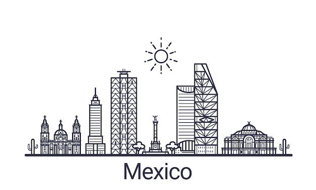Linear banner of mexico city. all mexico buildings  art.