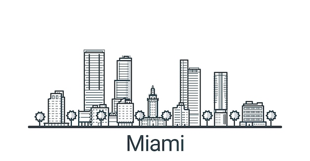 Linear banner of miami city. all buildings