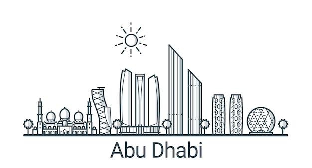Линейное знамя города абу-даби. все здания - настраиваемые различные объекты с фоновой заливкой, так что вы можете изменить композицию для своего проекта. штриховая графика.