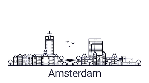 アムステルダム市の線形バナー。アムステルダムのすべての建物-不透明度マスクを使用してカスタマイズ可能なオブジェクト。構成と背景の塗りつぶしを簡単に変更できます。線画。