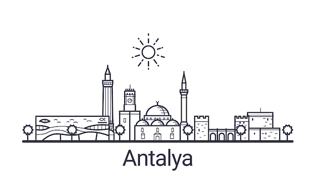Линейное знамя города анталии. все здания анталии - настраиваемые объекты с маской непрозрачности, поэтому вы можете легко изменить композицию и заливку фона. штриховая графика.