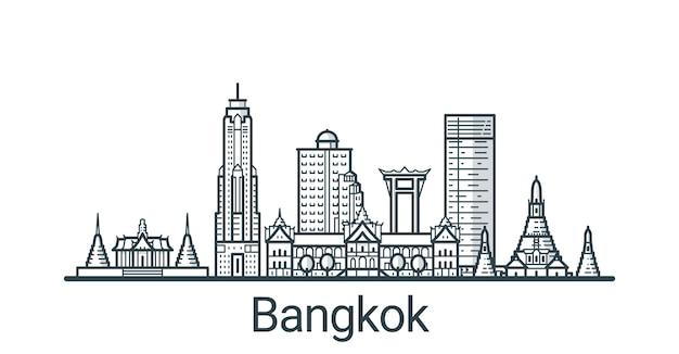 バンコク市の線形バナー。すべての建物-背景が塗りつぶされたカスタマイズ可能なさまざまなオブジェクト。プロジェクトの構成を変更できます。線画。