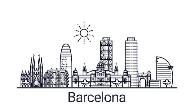 バルセロナ市の線形バナー。バルセロナのすべての建物-不透明度マスクを使用してカスタマイズ可能なオブジェクト。構成と背景の塗りつぶしを簡単に変更できます。線画。