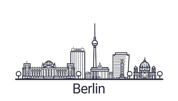 베를린시의 선형 배너입니다. 모든 베를린 건물-불투명 마스크가있는 사용자 정의 가능한 개체로 구성 및 배경 채우기를 간단하게 변경할 수 있습니다. 라인 아트.